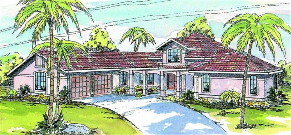 Front elevation of Mediterranean home (ThePlanCollection: House Plan #108-1470)