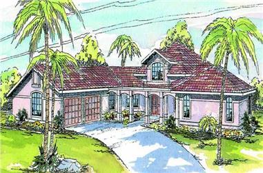 3-Bedroom, 2773 Sq Ft Mediterranean House Plan - 108-1470 - Front Exterior