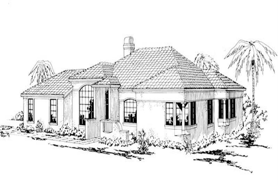 3-Bedroom, 1637 Sq Ft Mediterranean House Plan - 108-1472 - Front Exterior