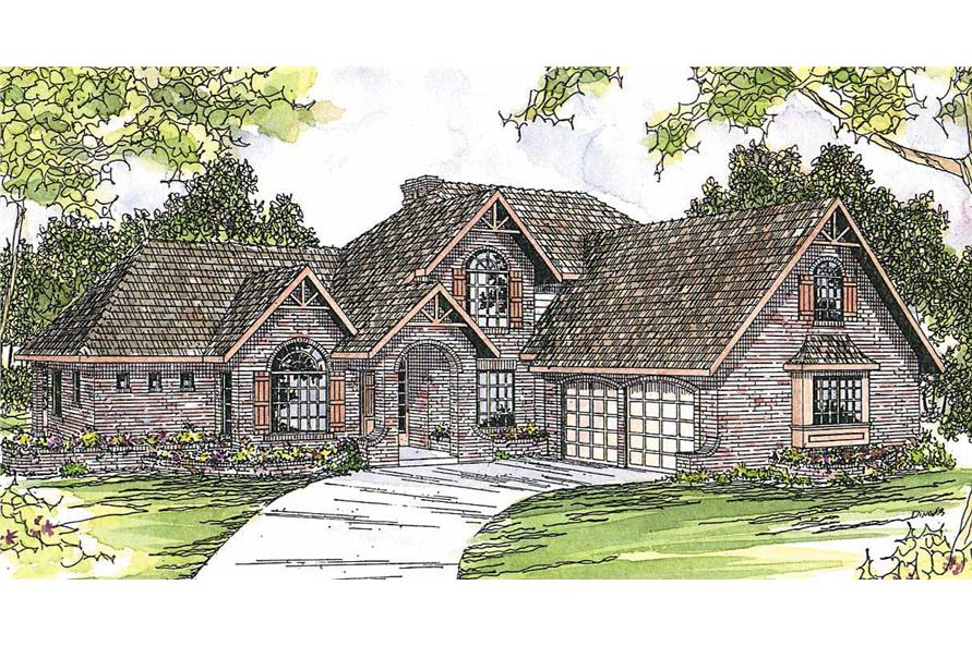 3-Bedroom, 2998 Sq Ft European House Plan - 108-1474 - Front Exterior