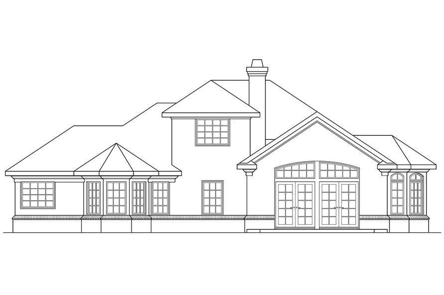 Home Plan Rear Elevation of this 4-Bedroom,2285 Sq Ft Plan -108-1476