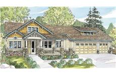 This is the front elevation of these classy Craftsman Houseplans.