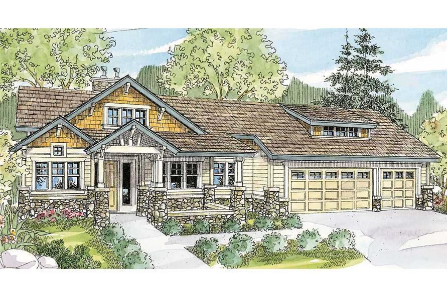 3-Bedroom, 4090 Sq Ft Craftsman House Plan - 108-1478 - Front Exterior