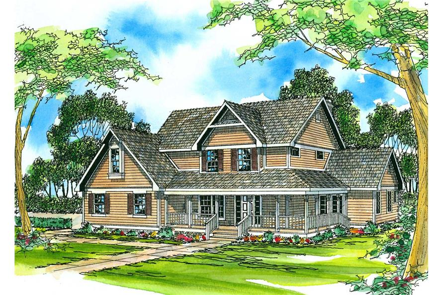 3-Bedroom, 2423 Sq Ft Country House Plan - 108-1479 - Front Exterior