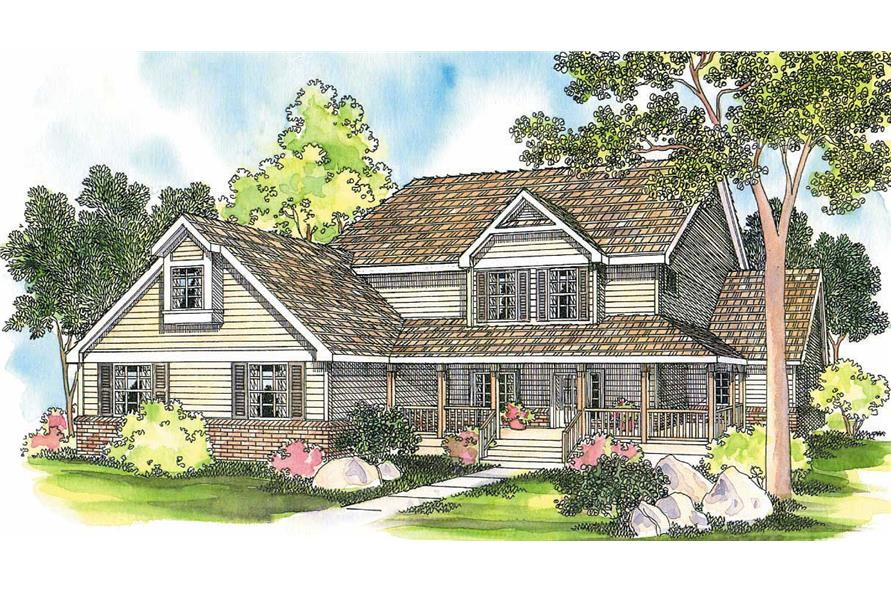 6-Bedroom, 3759 Sq Ft Country House Plan - 108-1484 - Front Exterior