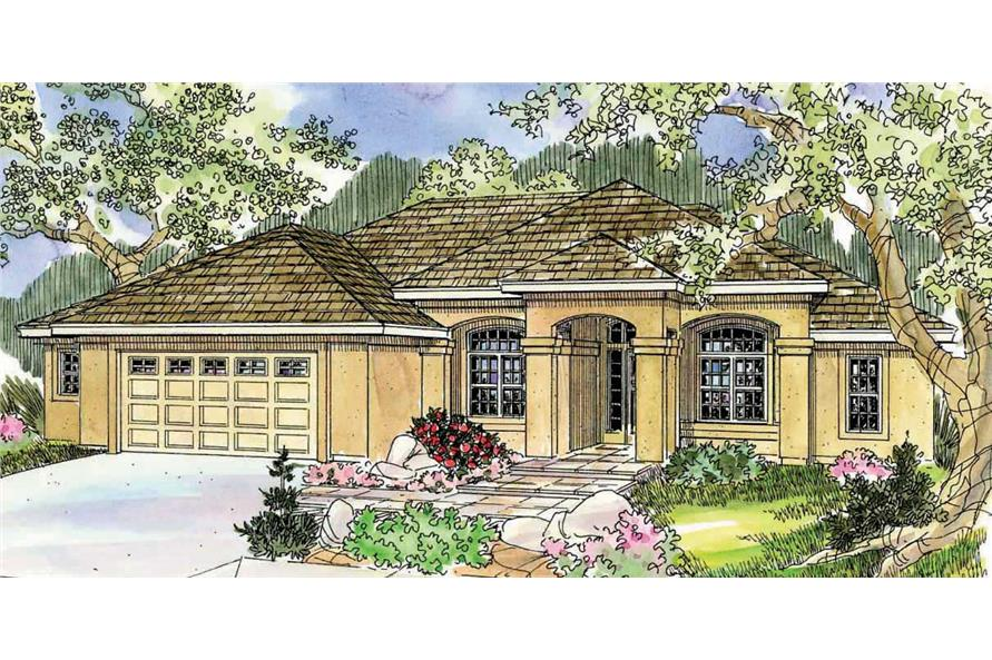 This is a colorful rendering of these Spanish Style Home Plans.