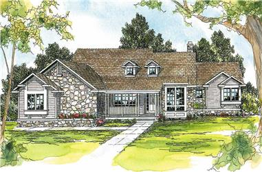 4-Bedroom, 3102 Sq Ft Country House Plan - 108-1495 - Front Exterior