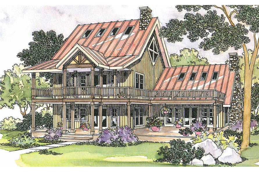 3-Bedroom, 2017 Sq Ft Vacation Homes House Plan - 108-1496 - Front Exterior