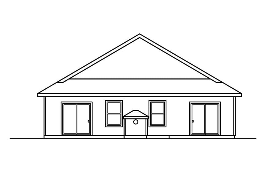 Home Plan Rear Elevation of this 3-Bedroom,1731 Sq Ft Plan -108-1500