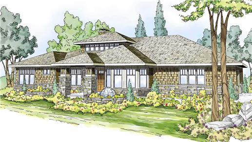 This is a colorful rendering of these Prairie House Plans.