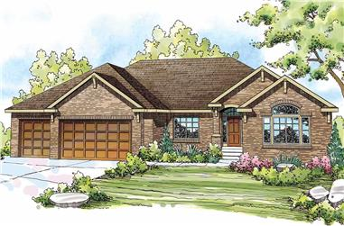 This is the front elevation for these Ranch House Plans.