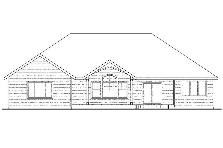 108-1502: Home Plan Rear Elevation