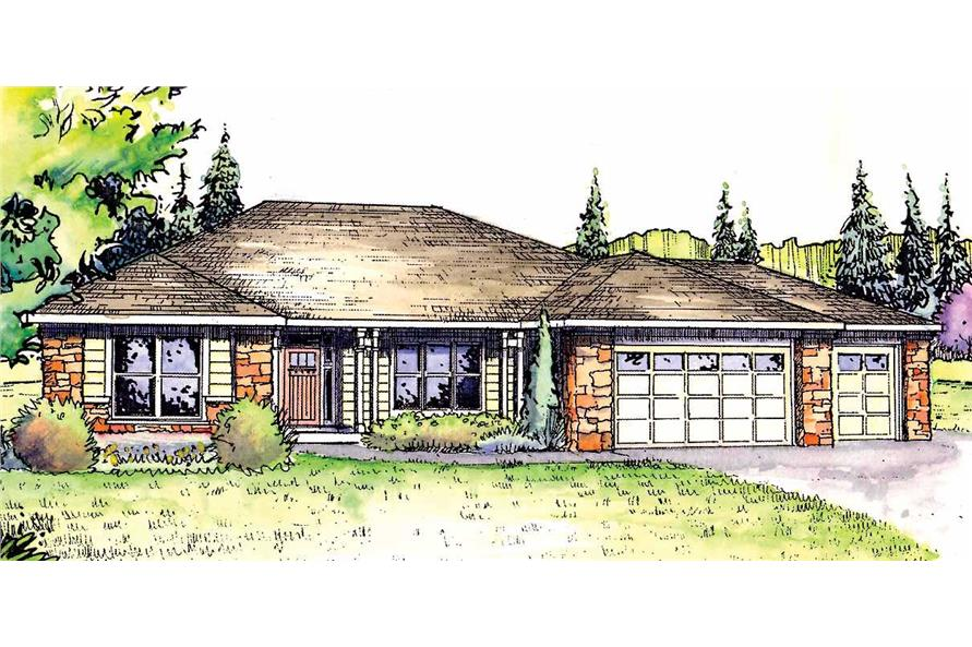 This is a colorful rendering for these Ranch House Plans.
