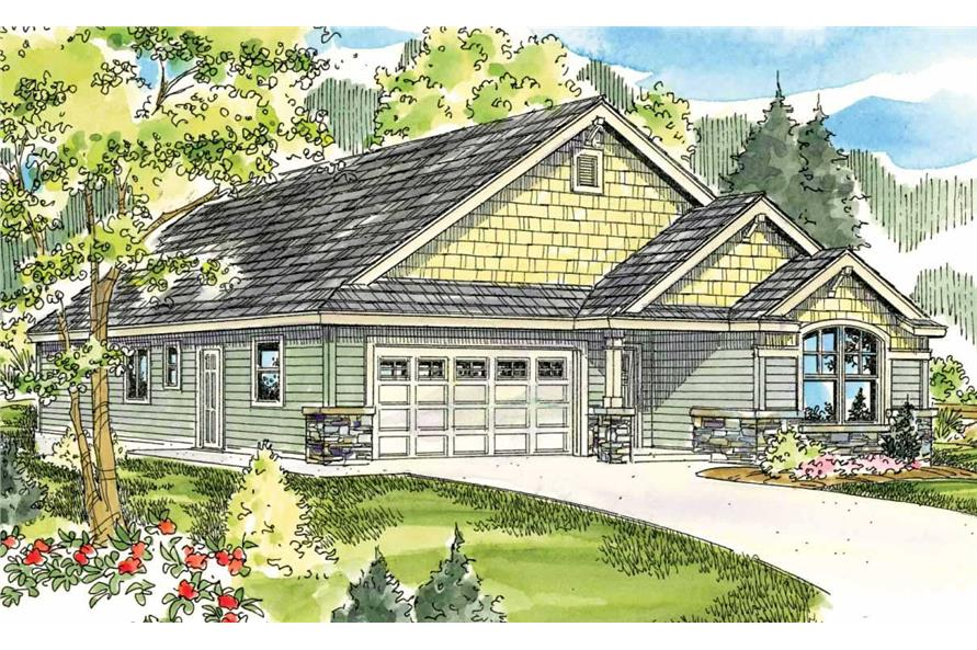 This is the front elevation of these Craftsman Home Plans