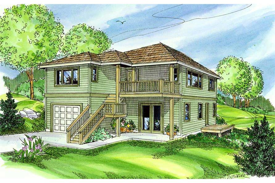 This image is a front perspective of these Contemporary Home Plans.