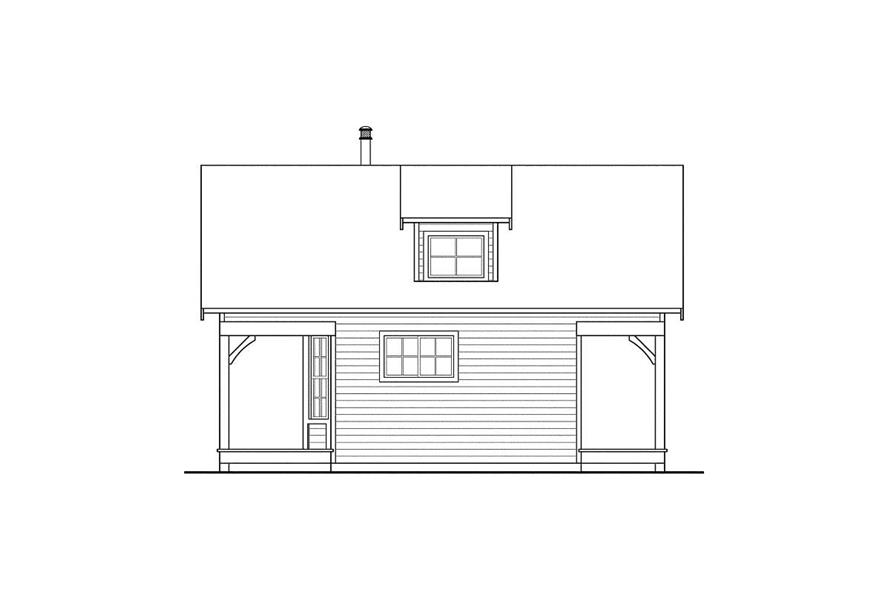 Home Plan Rear Elevation of this 1-Bedroom,683 Sq Ft Plan -108-1518