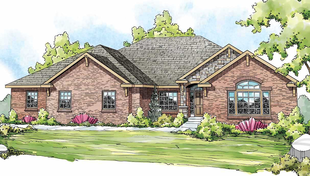 European Ranch Home with 3 Bedrms 2876 Sq Ft Plan