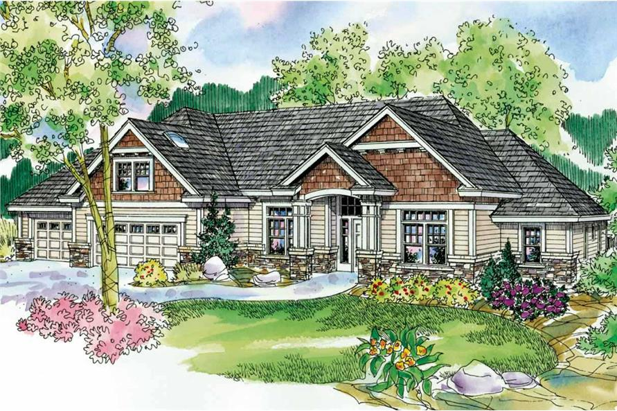 This image shows the front elevation of these colorful Craftsman Homeplans.