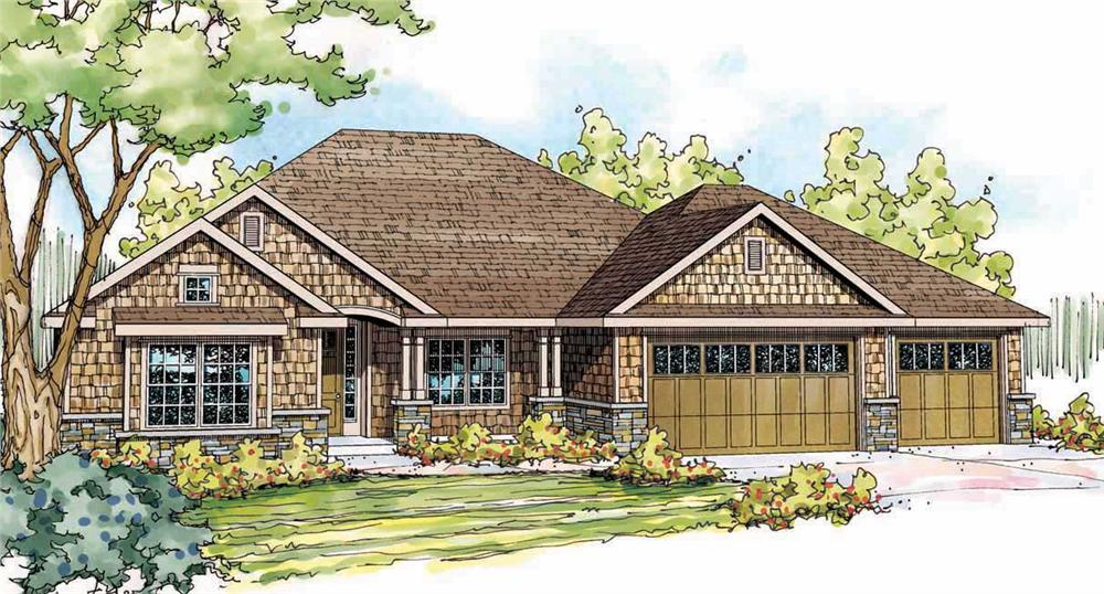 This is the front elevation for these Shingle House Plans.