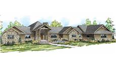 This is an artist's rendering of these Prairie Style House Plans.