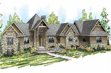 4-Bedroom, 5110 Sq Ft Craftsman Home Plan - 108-1528 - Main Exterior