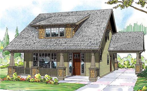 This is the colored front rendering for these Craftsman House Plans.
