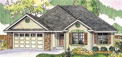 This is a colored drawing of the front of these Transitional Homeplans.