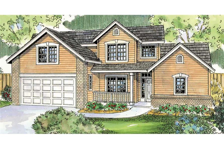Here is a colored rendering for these Country Homeplans.