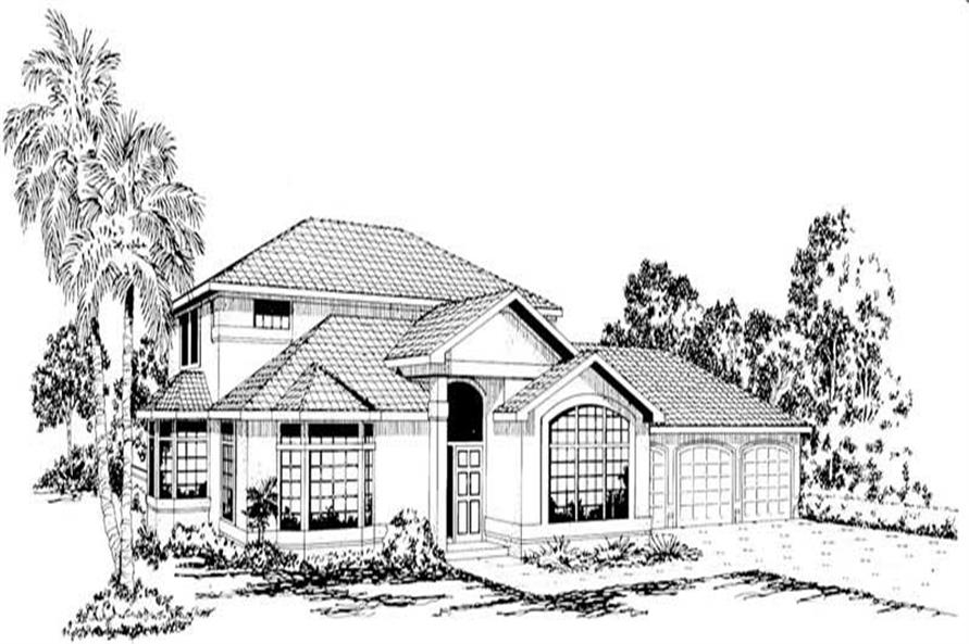 4-Bedroom, 3717 Sq Ft Mediterranean House Plan - 108-1535 - Front Exterior