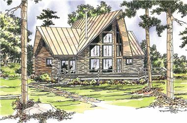2-Bedroom, 1216 Sq Ft Log Cabin Home Plan - 108-1538 - Main Exterior
