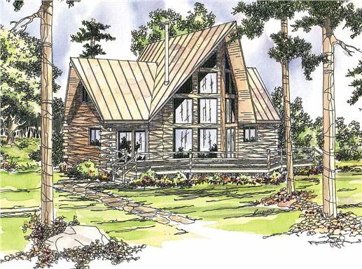 This image shows the Log Home style for this set of house plans.