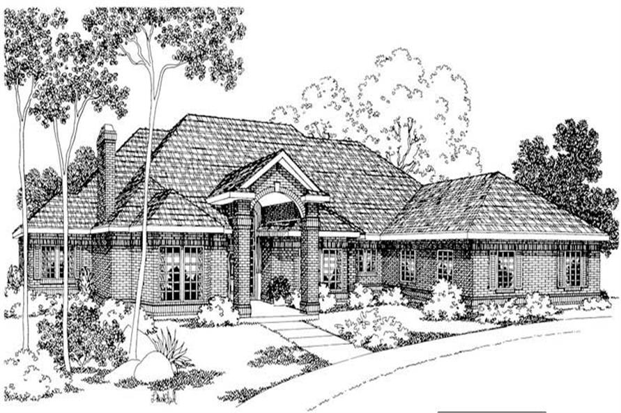3-Bedroom, 3346 Sq Ft Transitional Home Plan - 108-1539 - Main Exterior