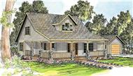 This image shows the Craftsman style of this set of house plans.