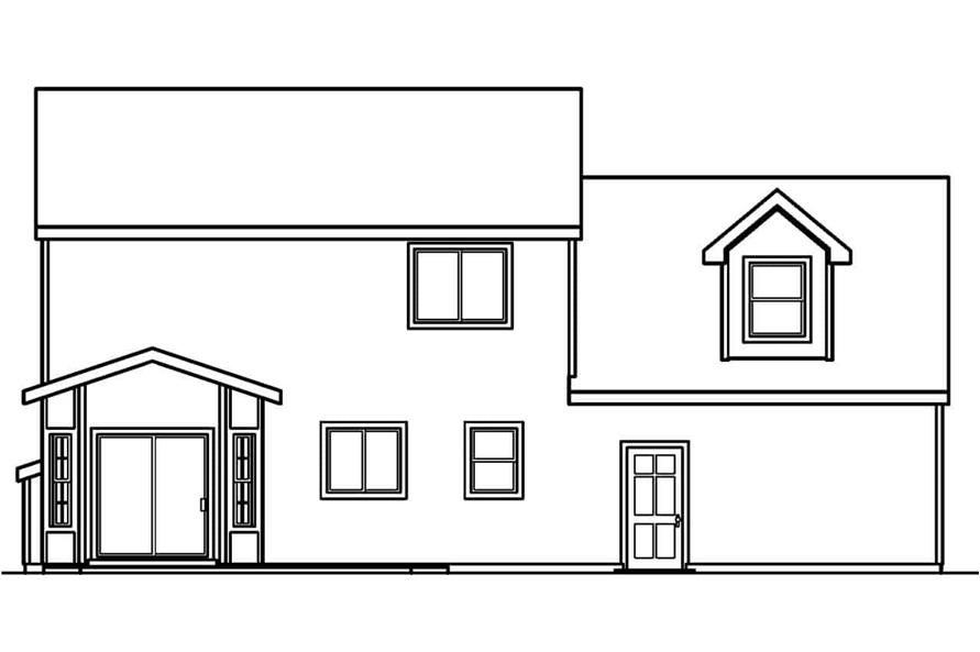 Home Plan Rear Elevation of this 3-Bedroom,1608 Sq Ft Plan -108-1544