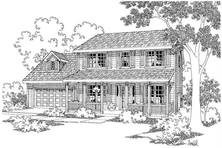 3-Bedroom, 1608 Sq Ft Country Home Plan - 108-1544 - Main Exterior