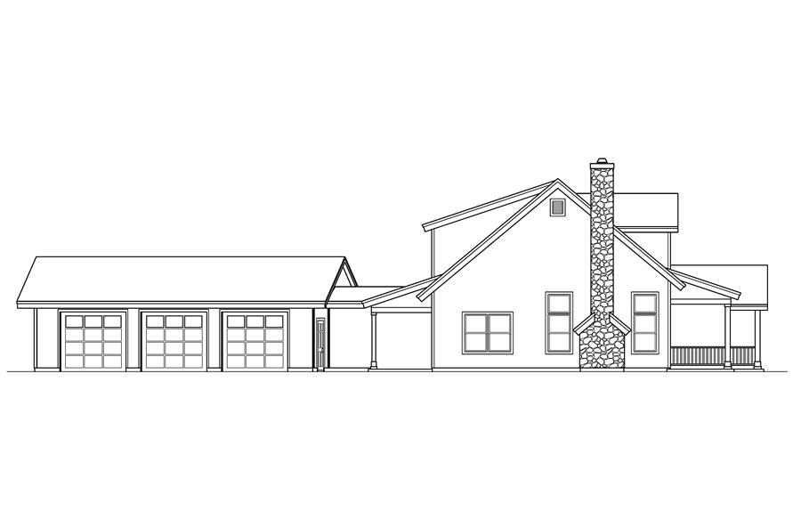 Home Plan Left Elevation of this 3-Bedroom,2886 Sq Ft Plan -108-1546
