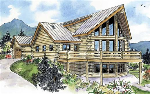 This is an artist's painting of these log cabin house plans.
