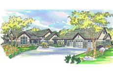 Craftsman home plans color rendering.