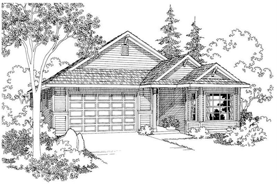 Home Plan Rendering for Ashland set of house plans.