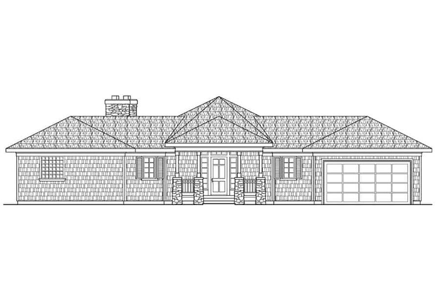 Home Plan Front Elevation of this 3-Bedroom,2292 Sq Ft Plan -108-1556