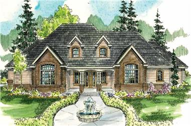 3-Bedroom, 6168 Sq Ft Country House Plan - 108-1557 - Front Exterior