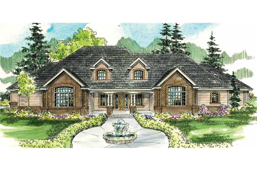 This is an artist's rendering of these Luxury Houseplans.