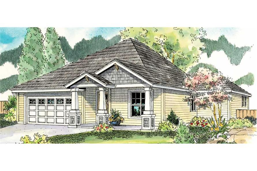 This is a color rendering of these Craftsman House Plans.