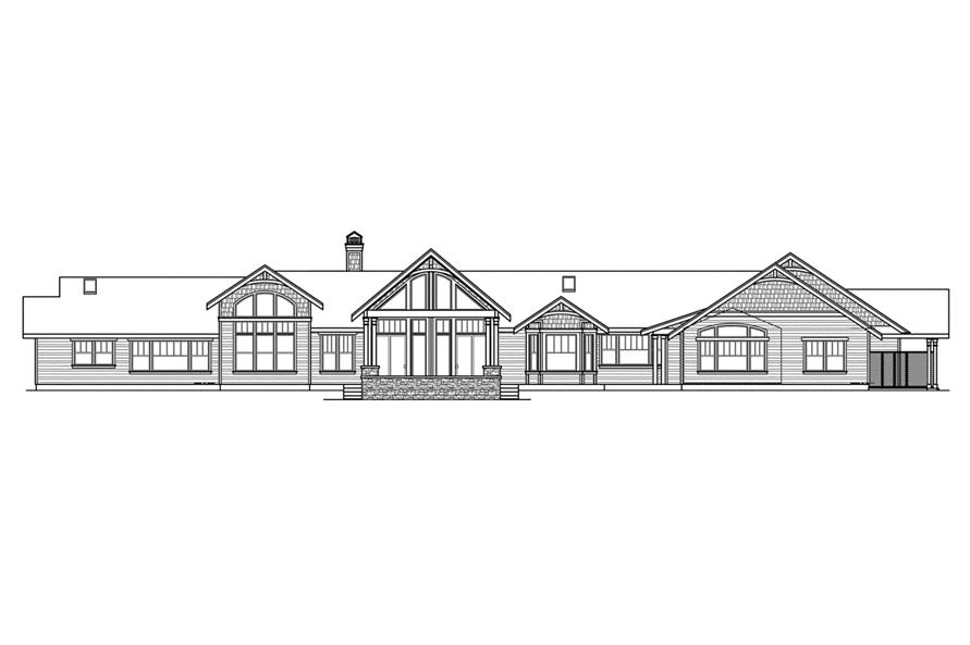 Home Plan Rear Elevation of this 3-Bedroom,3537 Sq Ft Plan -108-1562