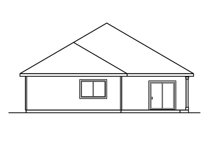 Home Plan Rear Elevation of this 3-Bedroom,1598 Sq Ft Plan -108-1564