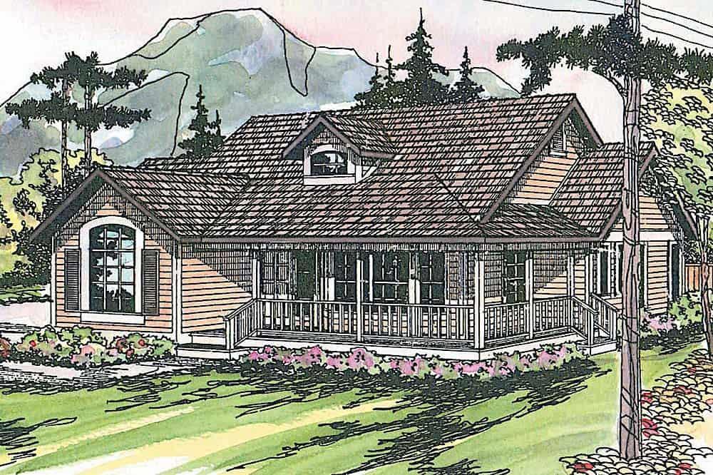 Farmhouse home (ThePlanCollection: Plan #108-1565)