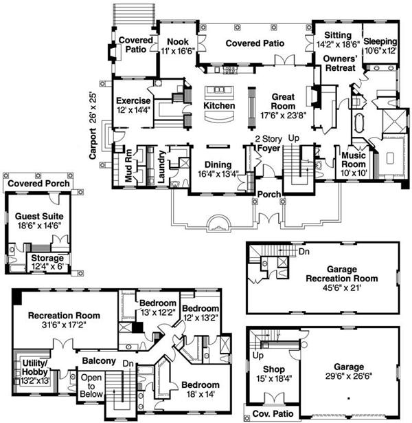 Luxury mediterranean european in law suite house plans for Home plans with detached in law suite