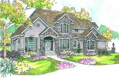 4-Bedroom, 4862 Sq Ft European Home Plan - 108-1569 - Main Exterior