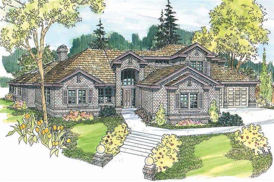 4-Bedroom, 3985 Sq Ft Colonial Home Plan - 108-1571 - Main Exterior