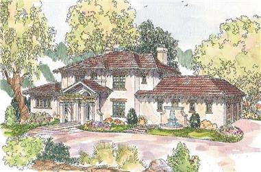 5-Bedroom, 5454 Sq Ft European House Plan - 108-1572 - Front Exterior